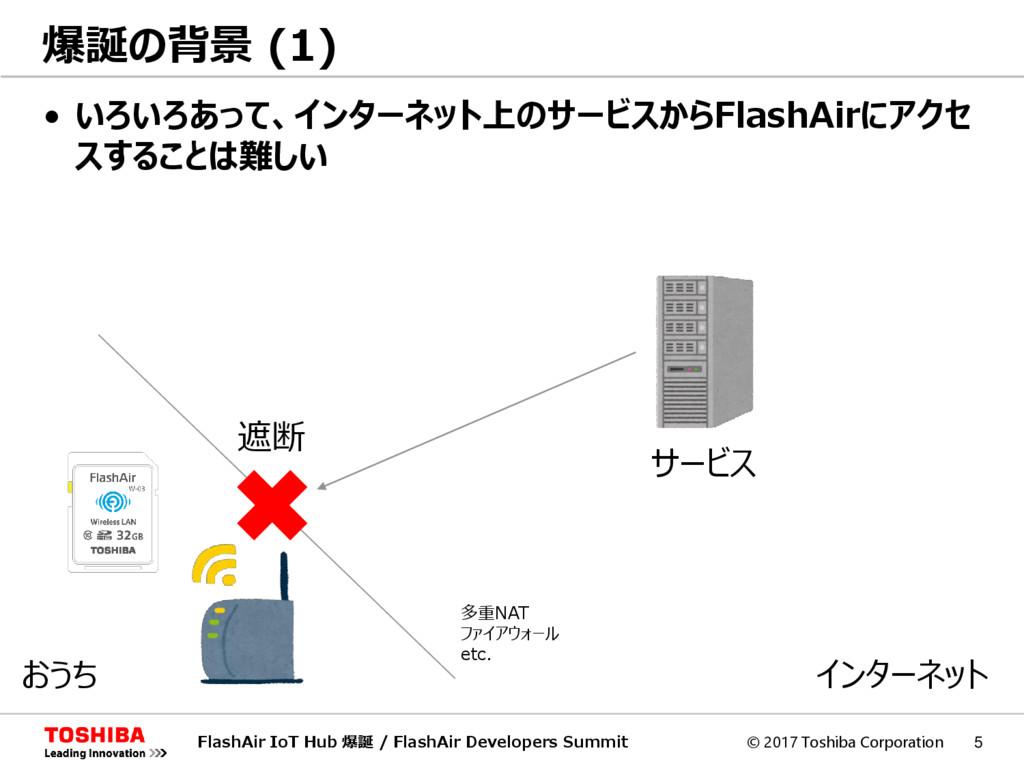 © 2017 Toshiba Corporation 5 • いろいろあって、インターネット上...