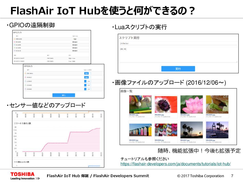 © 2017 Toshiba Corporation 7 FlashAir IoT Hubを使...