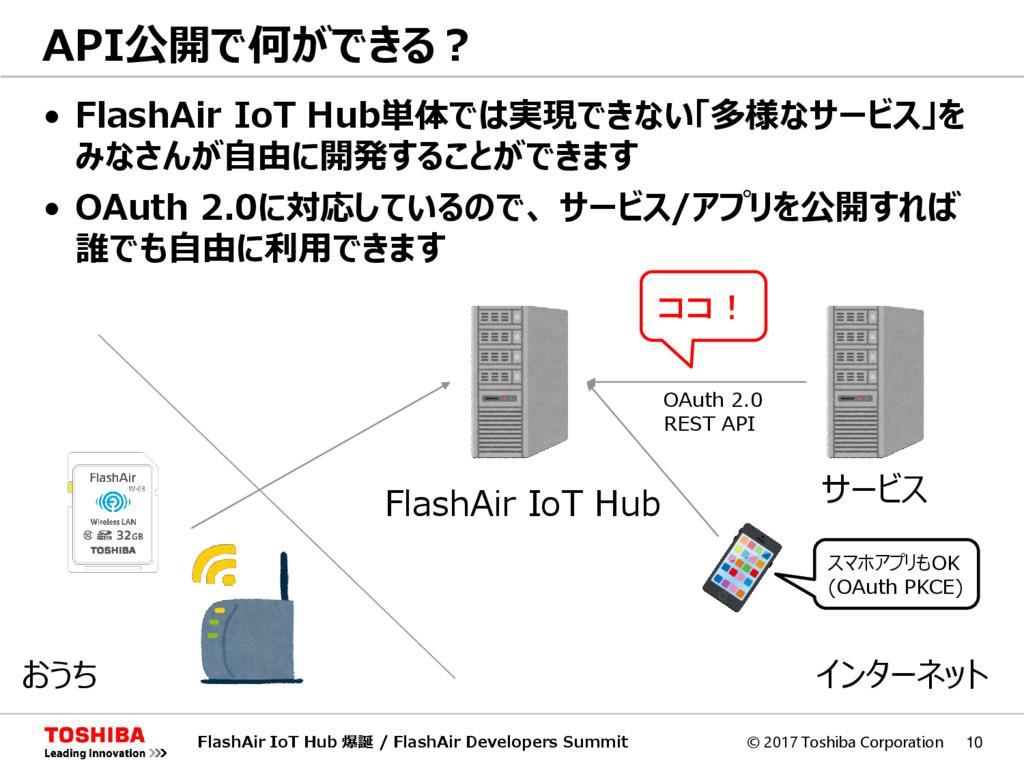 © 2017 Toshiba Corporation 10 • FlashAir IoT Hu...