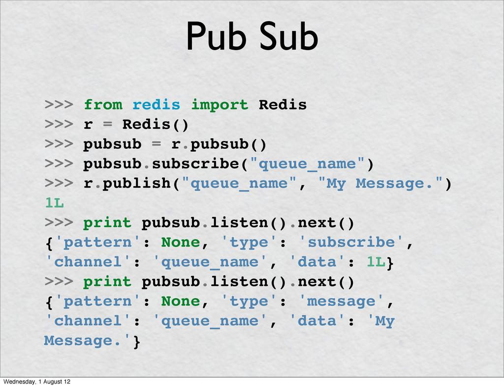 >>> from redis import Redis >>> r = Redis() >>>...
