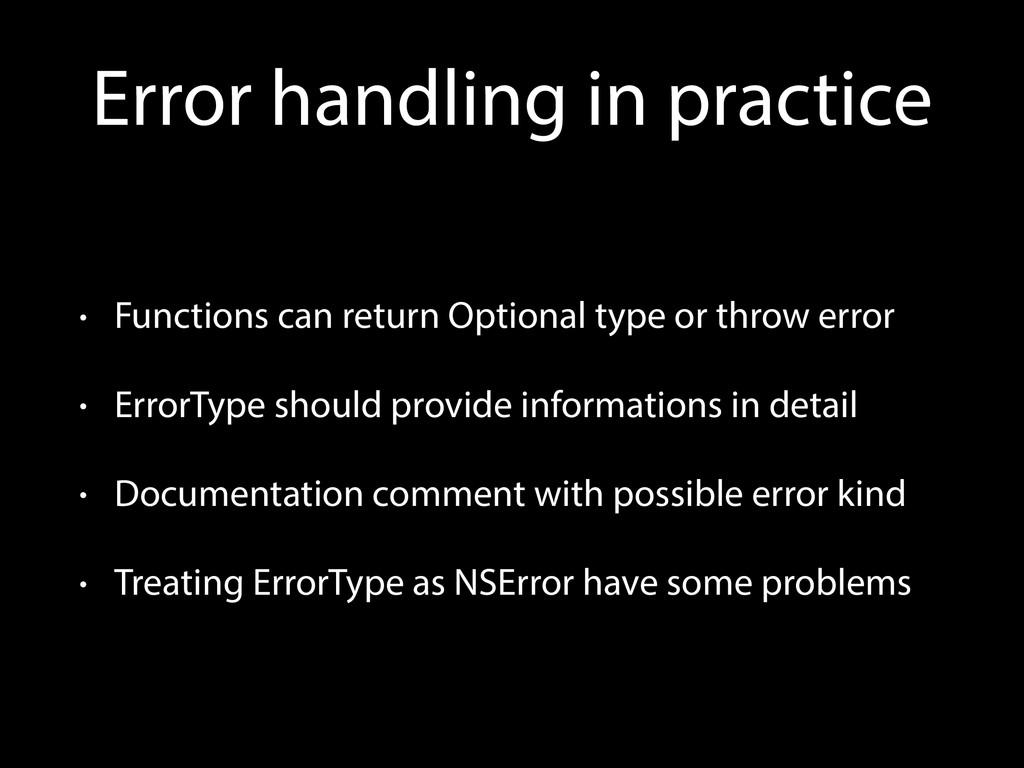 Error handling in practice • Functions can retu...
