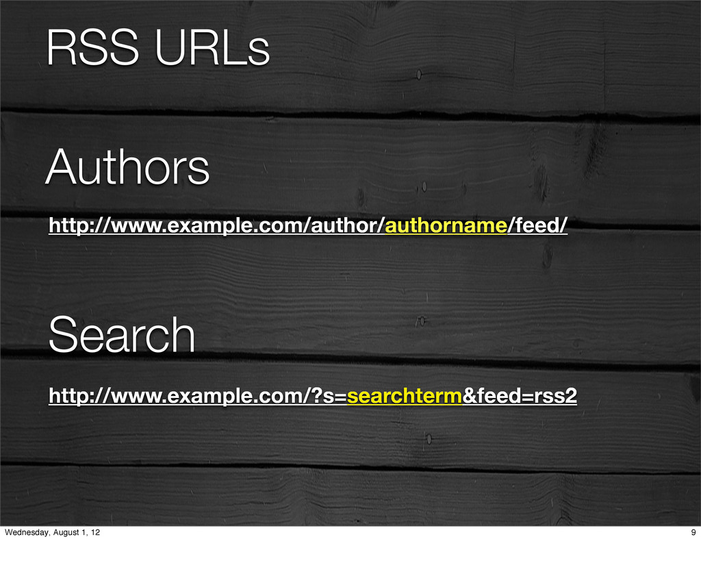 RSS URLs Authors http://www.example.com/author/...