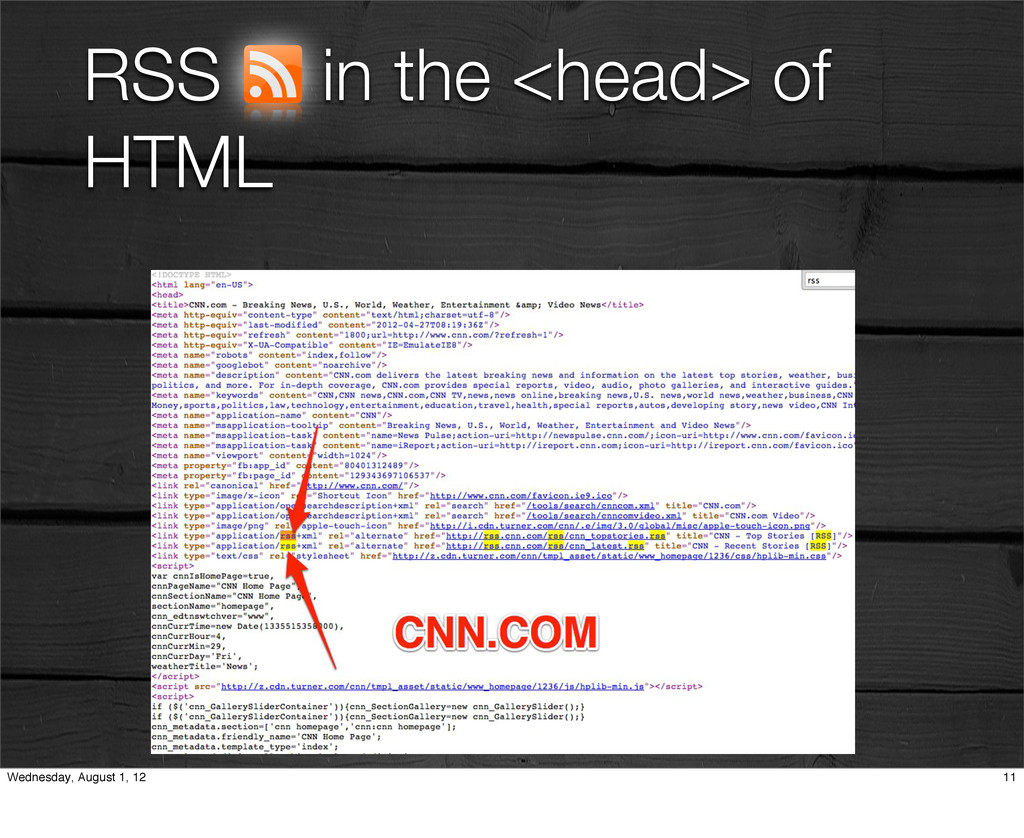 RSS in the <head> of HTML 11 Wednesday, August ...