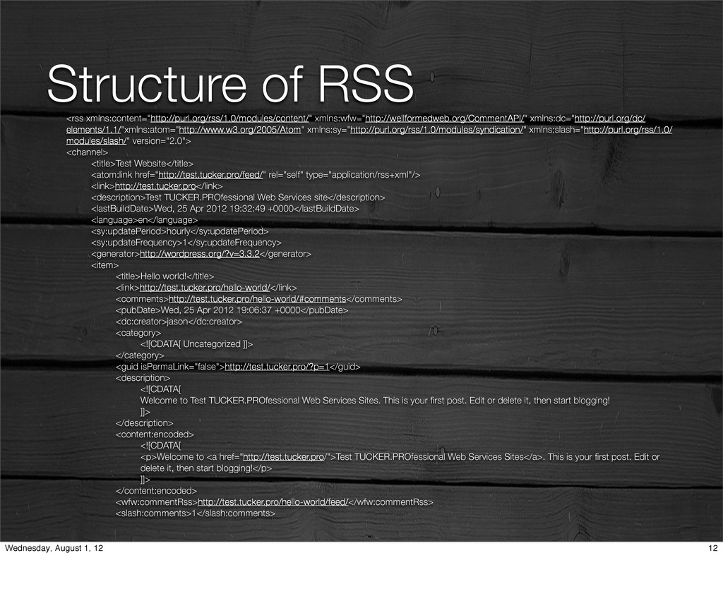 "Structure of RSS <rss xmlns:content=""http://pur..."