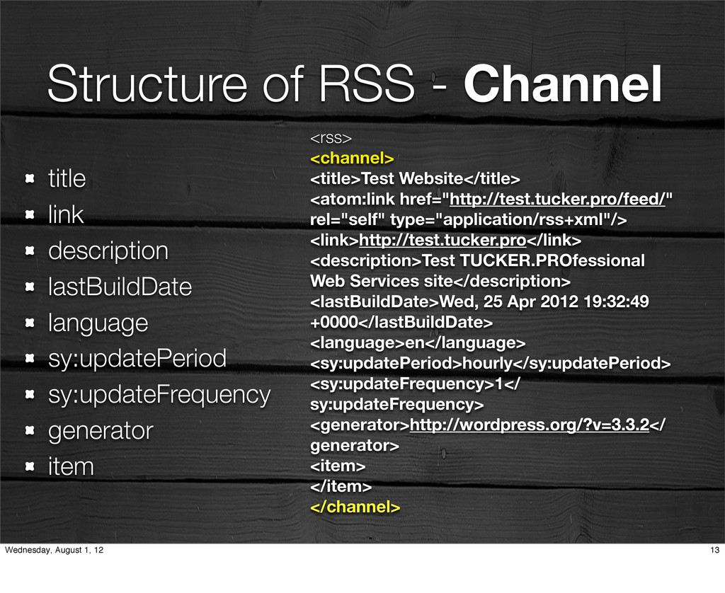Structure of RSS - Channel <rss> <channel> <tit...