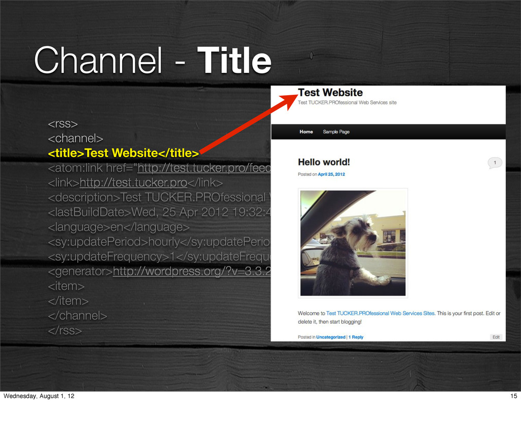 Channel - Title <rss> <channel> <title>Test Web...