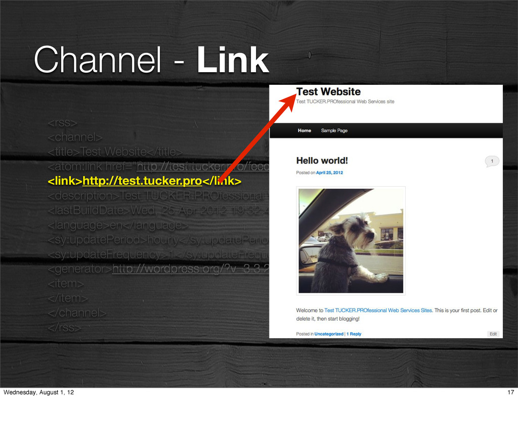 Channel - Link <rss> <channel> <title>Test Webs...
