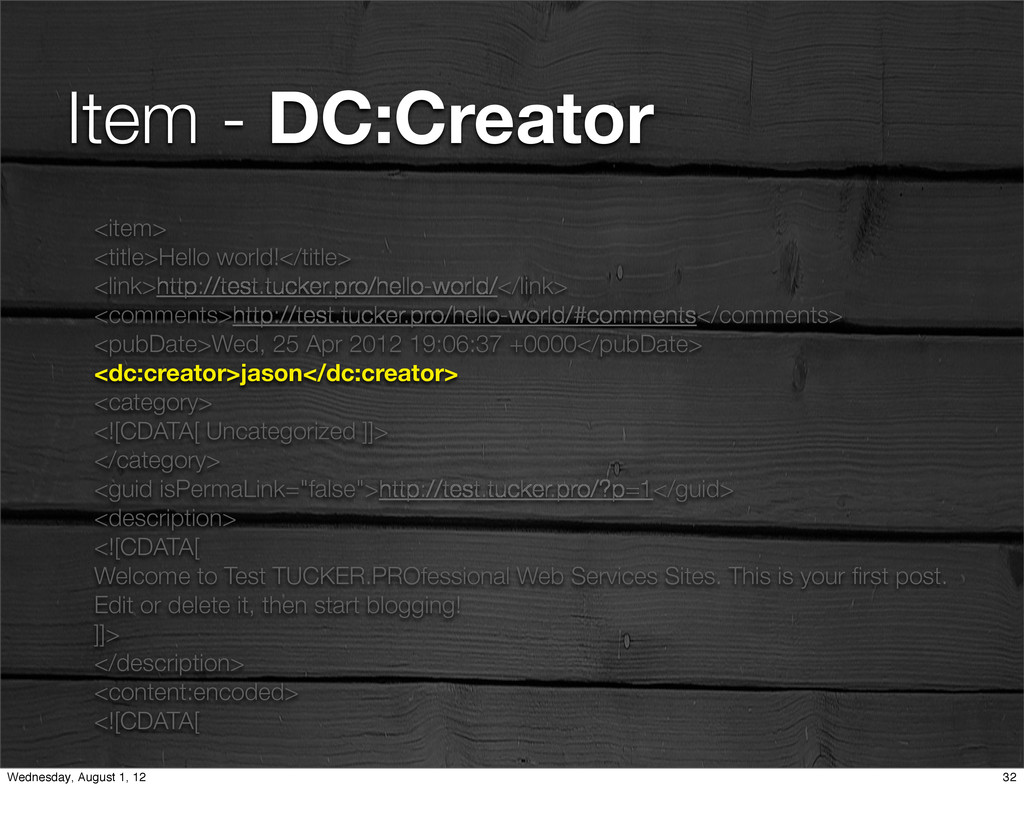Item - DC:Creator <item> <title>Hello world!</t...