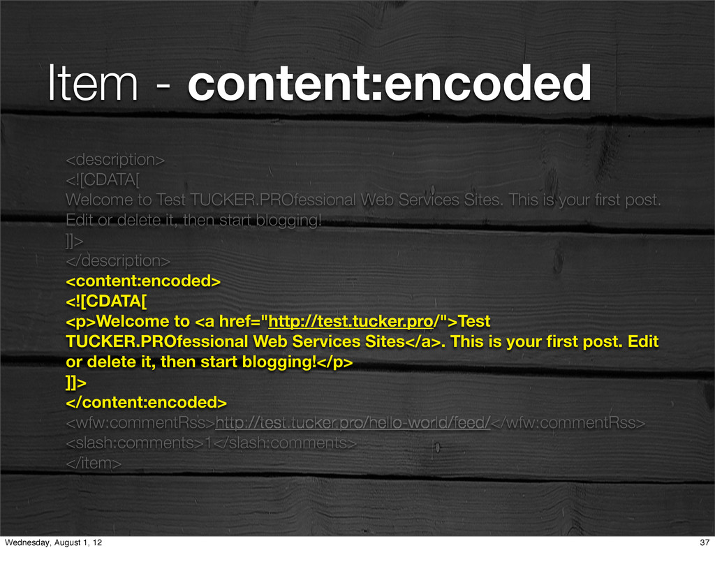 Item - content:encoded <description> <![CDATA[ ...
