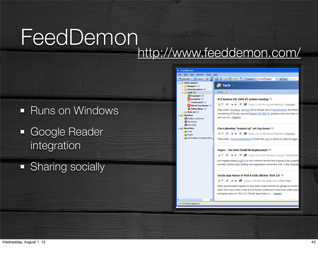 FeedDemon Runs on Windows Google Reader integra...