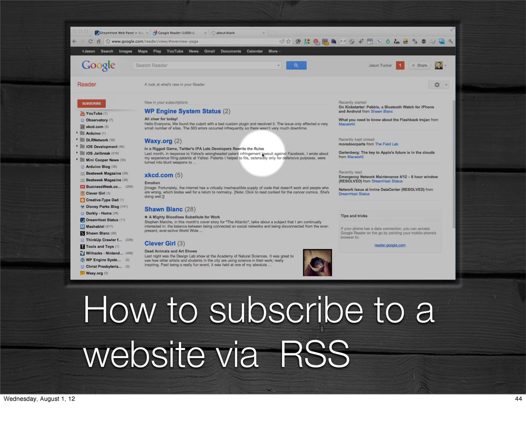 How to subscribe to a website via RSS 44 Wednes...