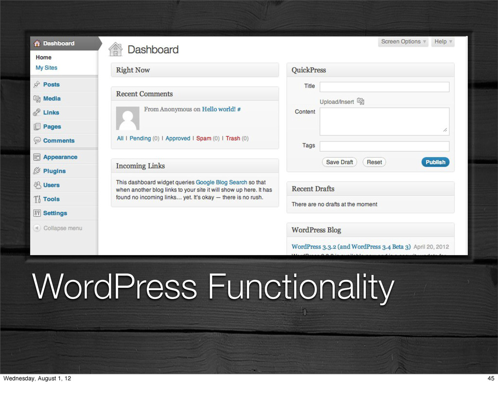 WordPress Functionality 45 Wednesday, August 1,...