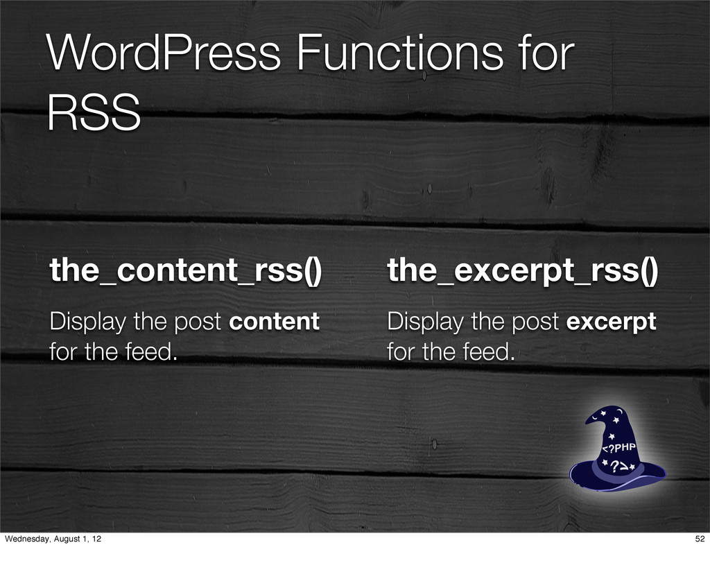 WordPress Functions for RSS the_content_rss() D...