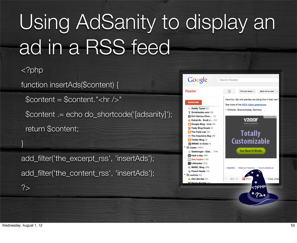 Using AdSanity to display an ad in a RSS feed <...