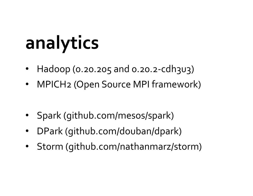 analytics  • Hadoop (0.20.205 and ...