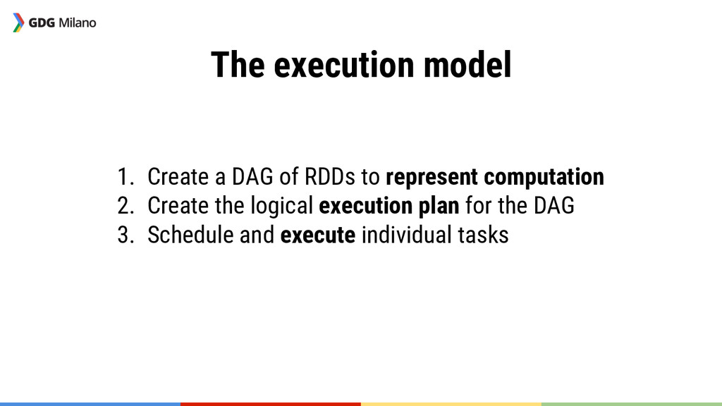 The execution model   1. Create a DAG of RD...