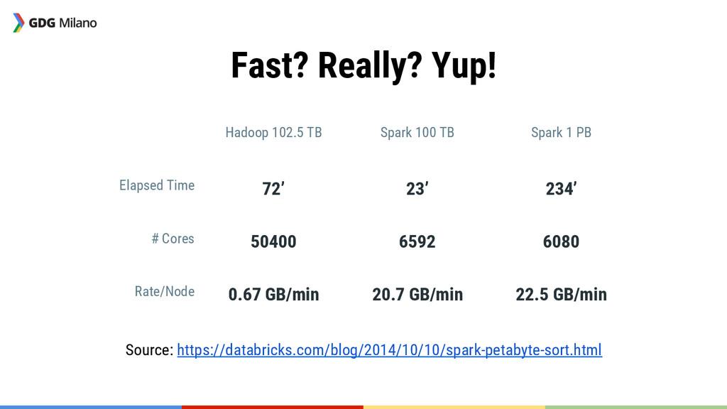 Fast? Really? Yup!   Hadoop 102.5 TB Spark ...