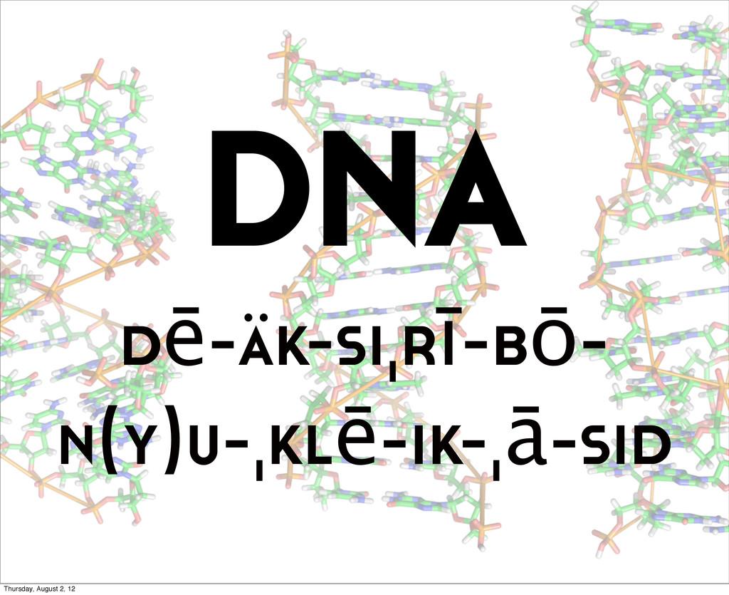 DNA dē-äk-siˌrī-bō- n(y)u-ˌklē-ik-ˌā-sid Thursd...