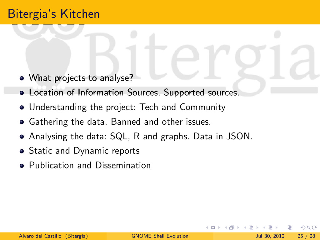 Bitergia's Kitchen What projects to analyse? Lo...