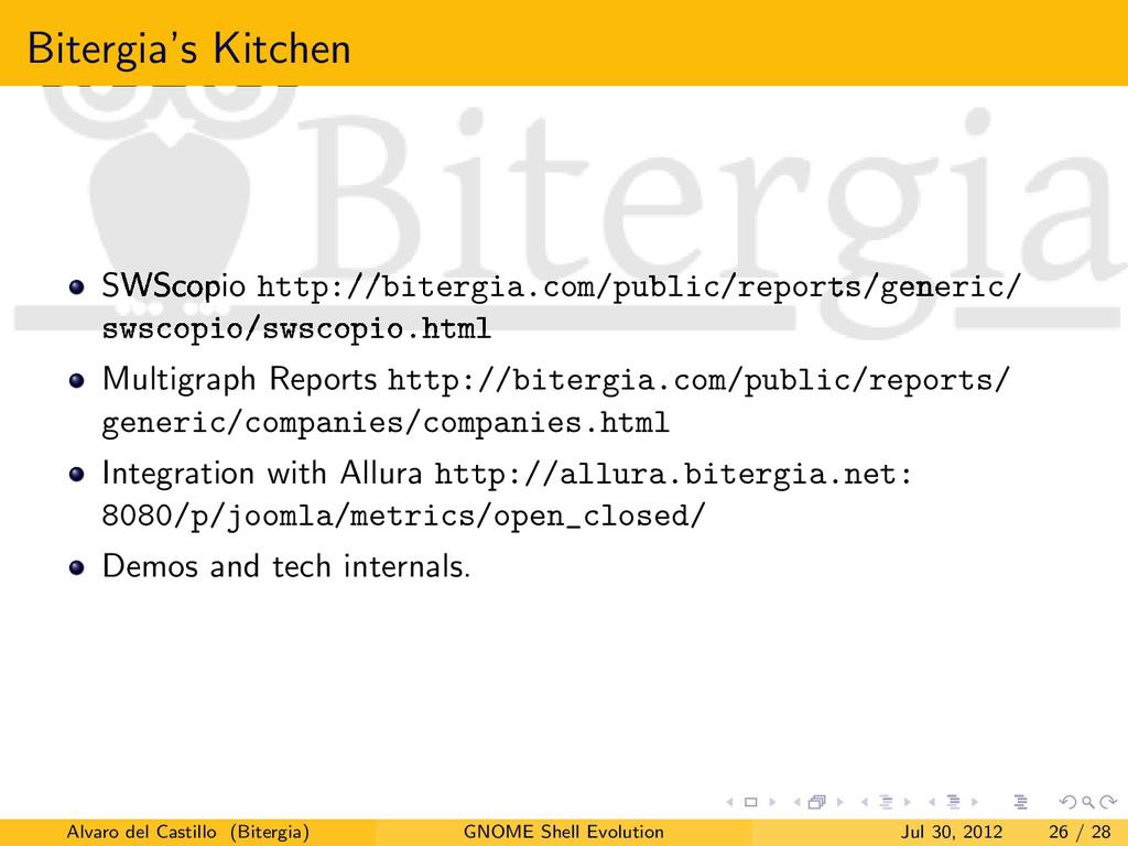 Bitergia's Kitchen SWScopio http://bitergia.com...