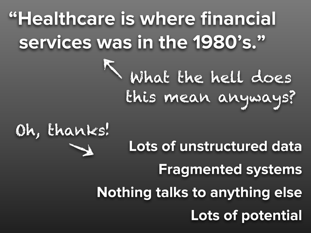 """""""Healthcare is where financial services was in t..."""