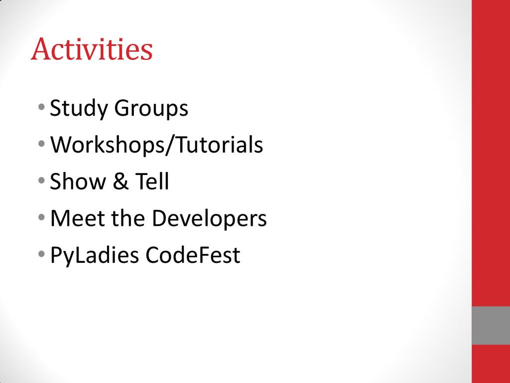 Activities •Study Groups •Workshops/Tutorials •...
