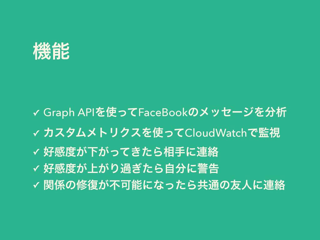 ػ ✓ Graph APIΛͬͯFaceBookͷϝοηʔδΛੳ ✓ ΧελϜϝτϦΫε...
