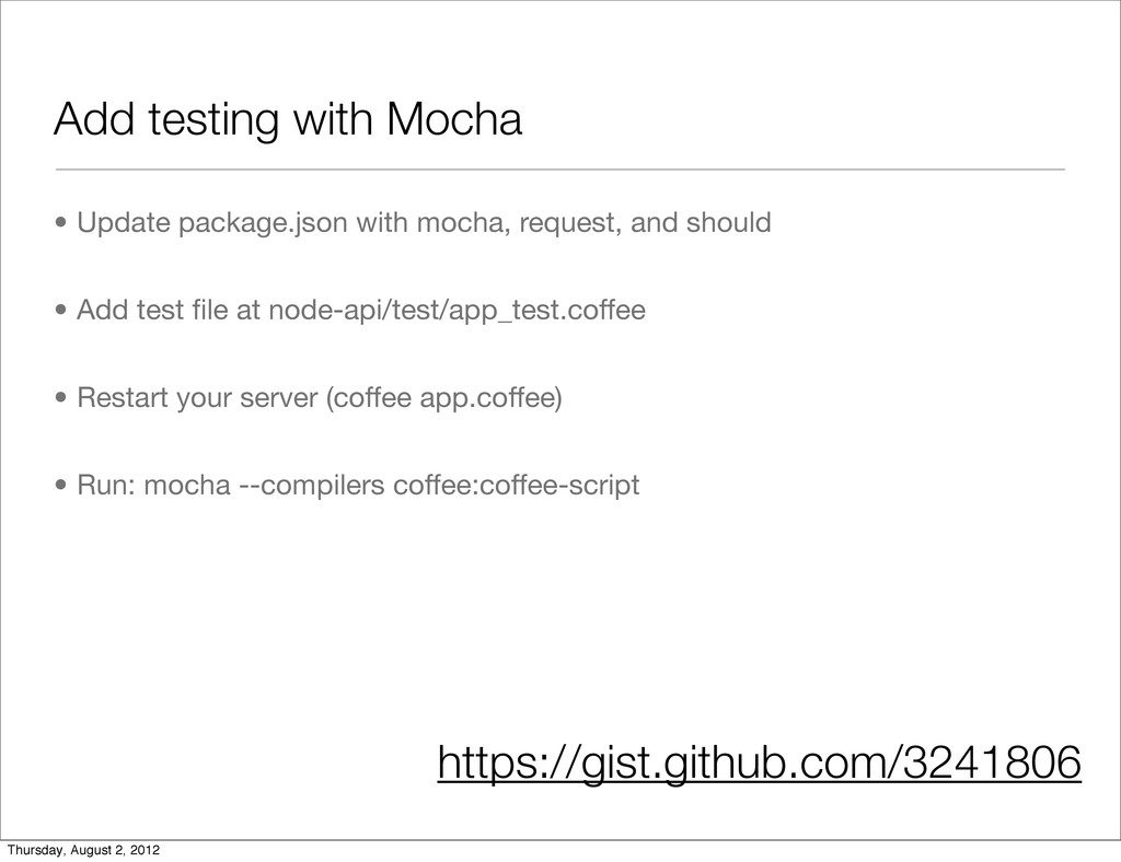 Add testing with Mocha • Update package.json wi...