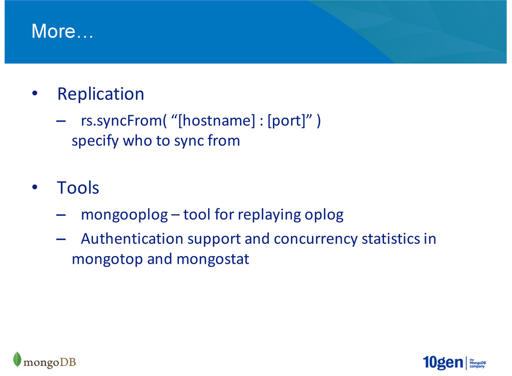 """Replication rs.syncFrom(2""""[hostname]2:2[port]""""2..."""