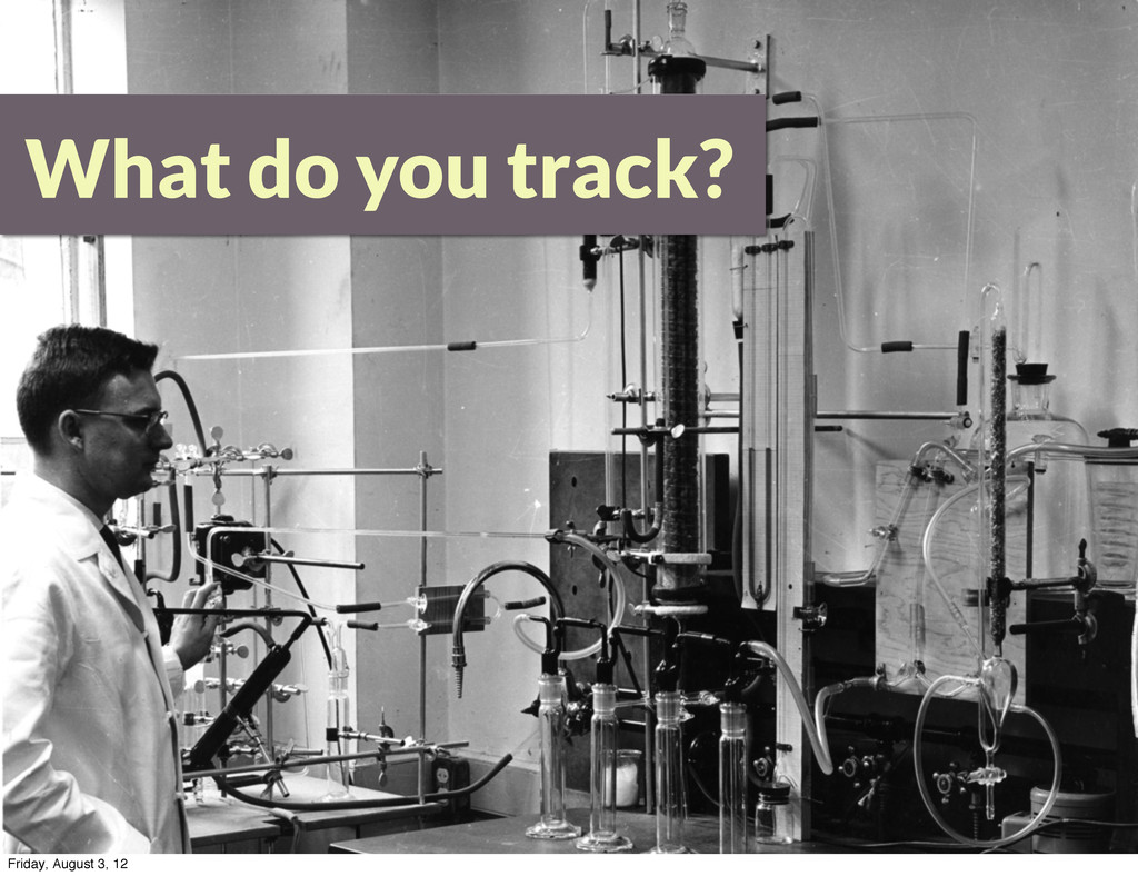 What do you track? Friday, August 3, 12