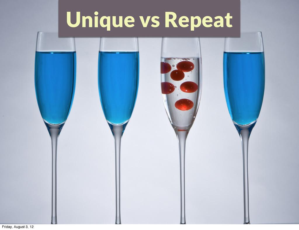 Unique vs Repeat Friday, August 3, 12