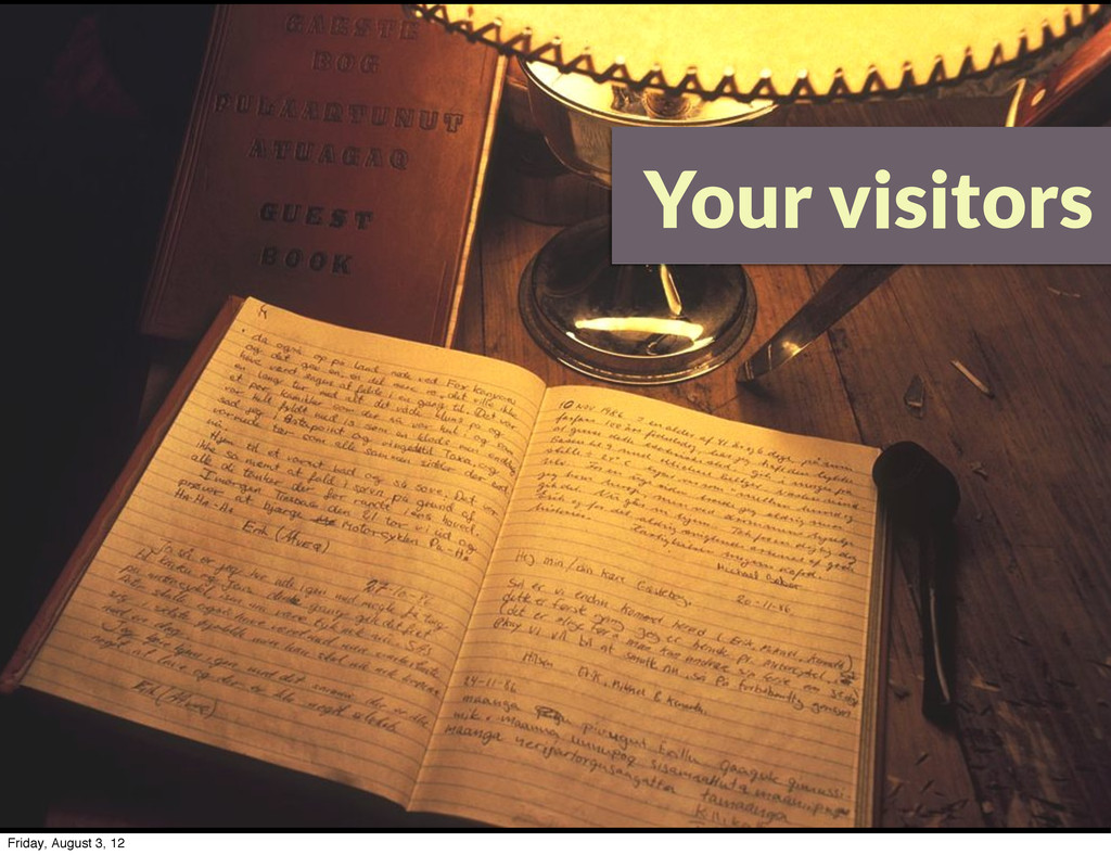 Your visitors Friday, August 3, 12