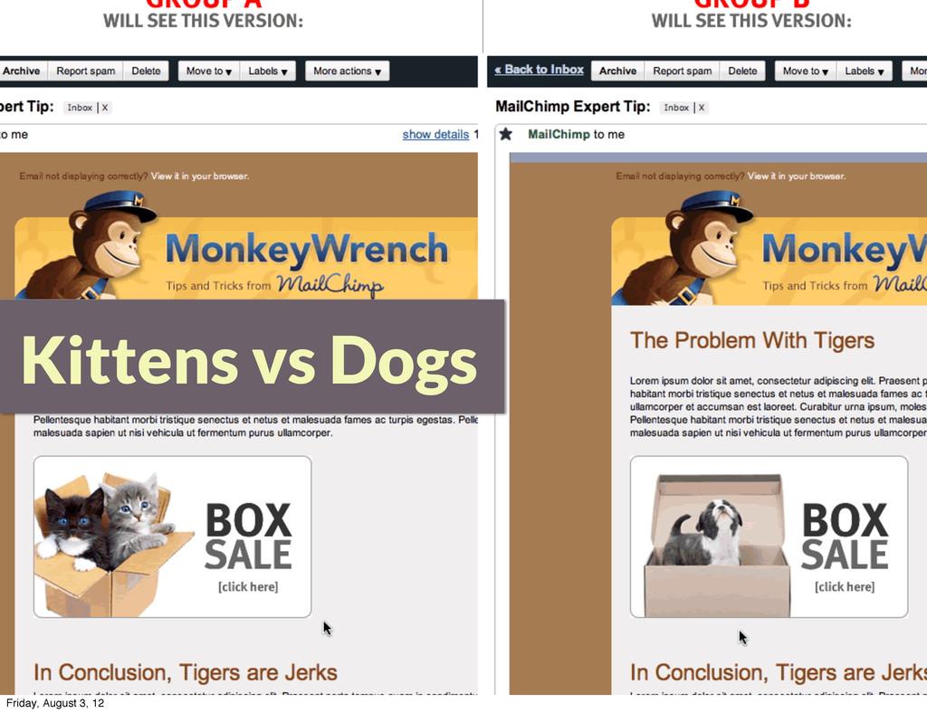 Kittens vs Dogs Friday, August 3, 12