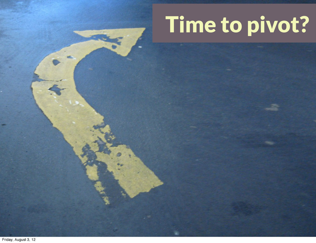 Time to pivot? Friday, August 3, 12