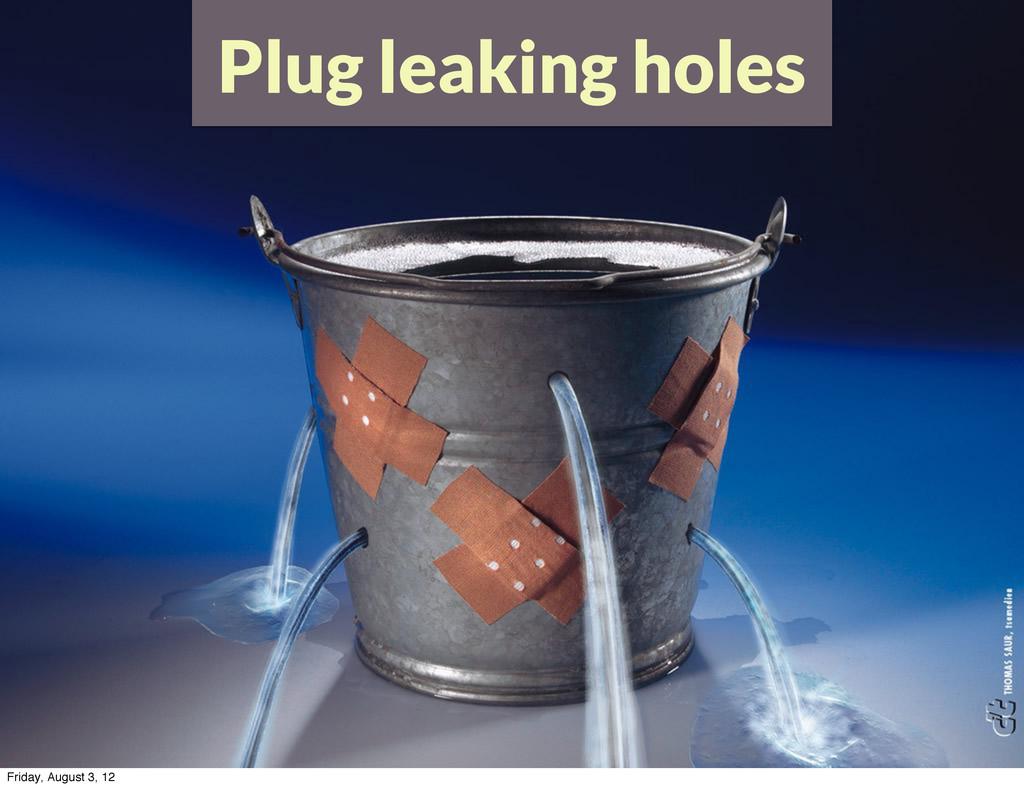 Plug leaking holes Friday, August 3, 12