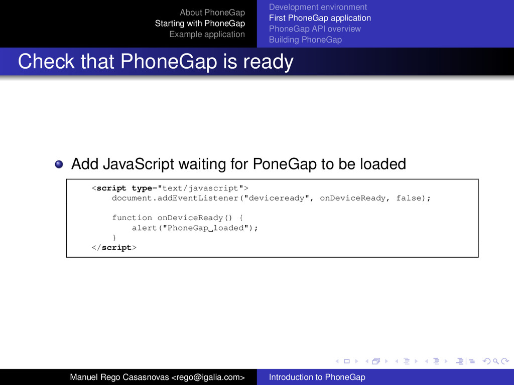 About PhoneGap Starting with PhoneGap Example a...