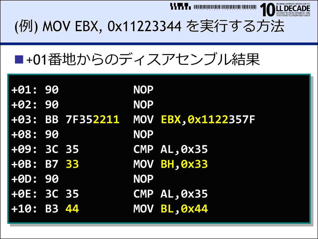 LIGHTWEIGHTLANGUAGEDECADE (例) MOV EBX, 0x112233...