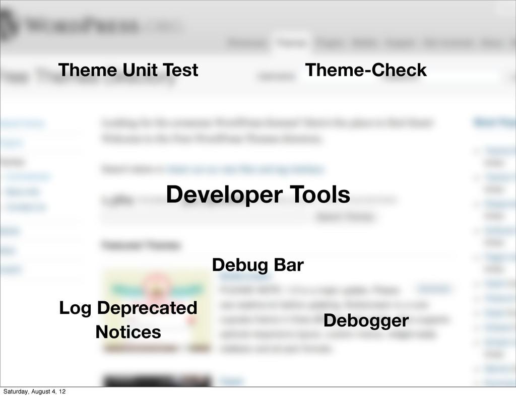 Developer Tools Theme Unit Test Theme-Check Log...