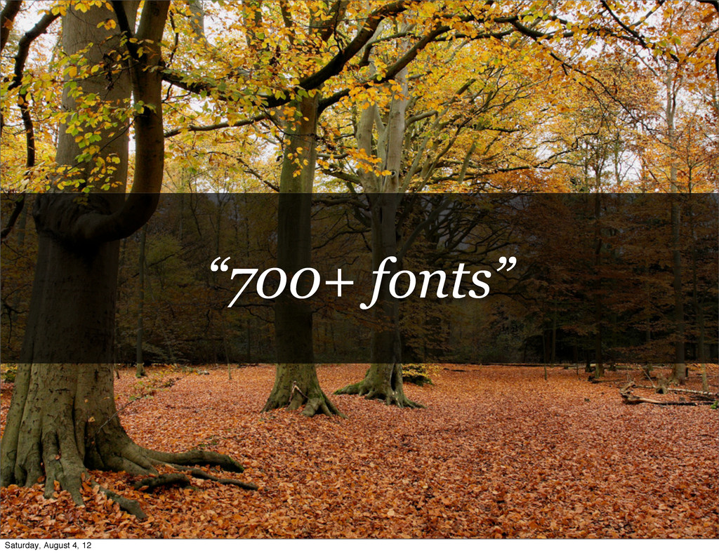 """""""700+ fonts"""" Saturday, August 4, 12"""