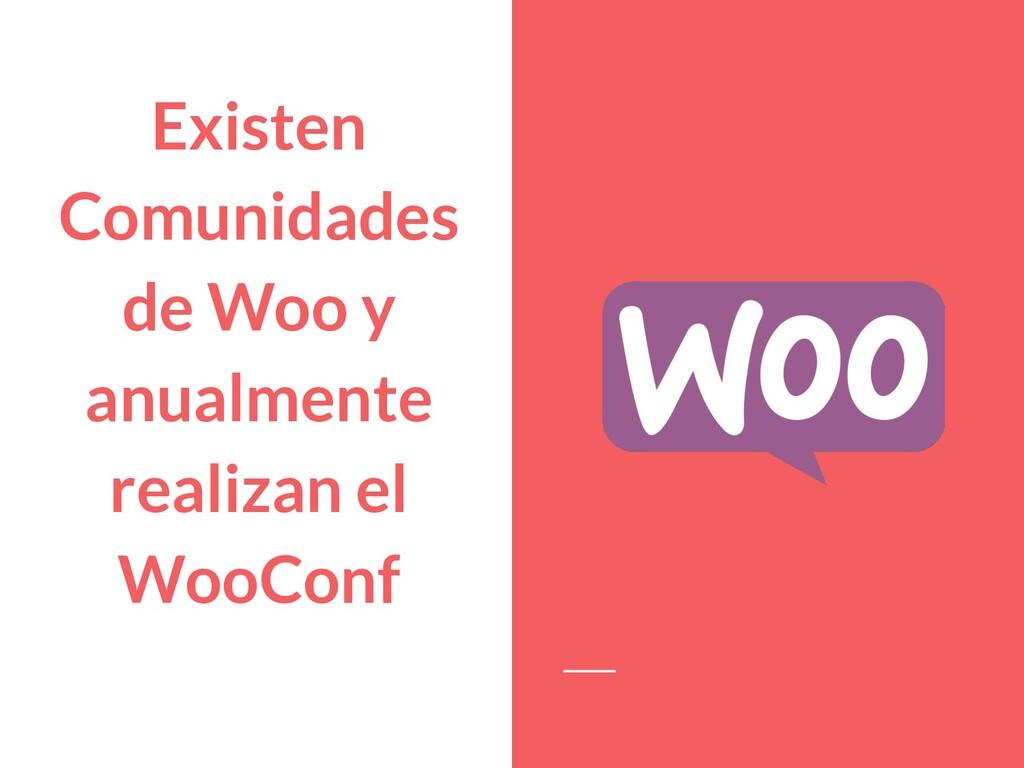 Existen Comunidades de Woo y anualmente realiza...