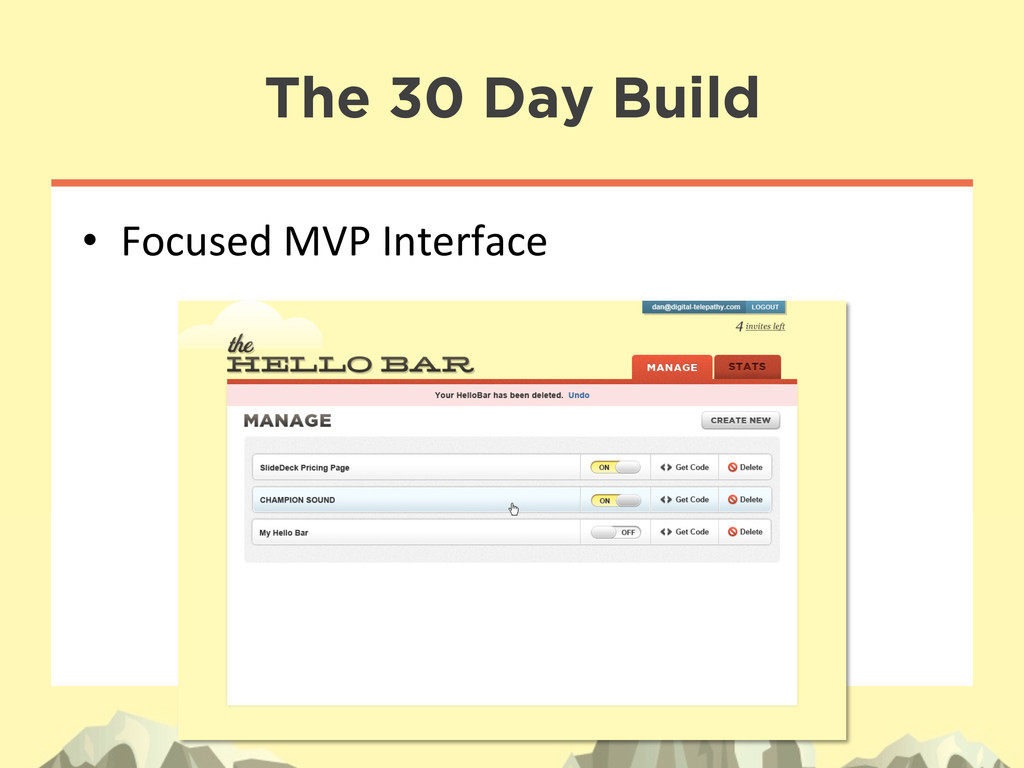 The 30 Day Build • Focused MVP Interface...