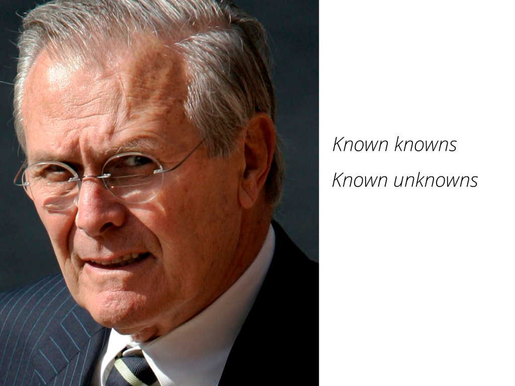 Known knowns Known unknowns