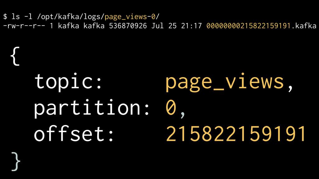 $ ls -l /opt/kafka/logs/page_views-0/ -rw-r--r-...