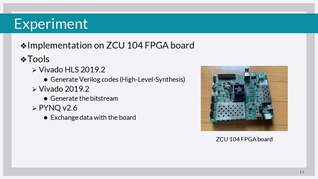 Experiment ❖Implementation on ZCU 104 FPGA boar...