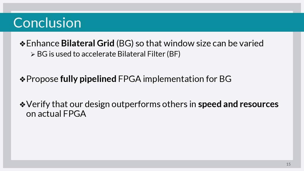 Conclusion ❖Enhance Bilateral Grid (BG) so that...