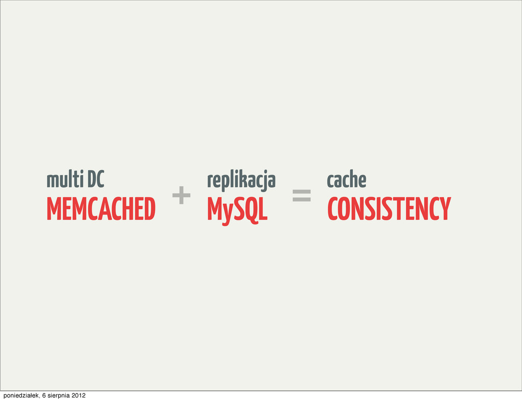 replikacja MySQL cache CONSISTENCY multi DC MEM...