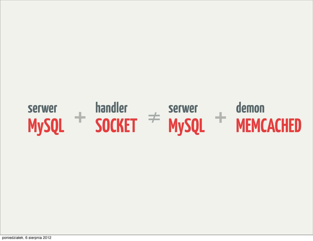 handler SOCKET serwer MySQL + demon MEMCACHED s...