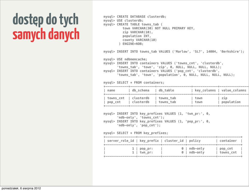 dostep do tych samych danych mysql> CREATE DATA...