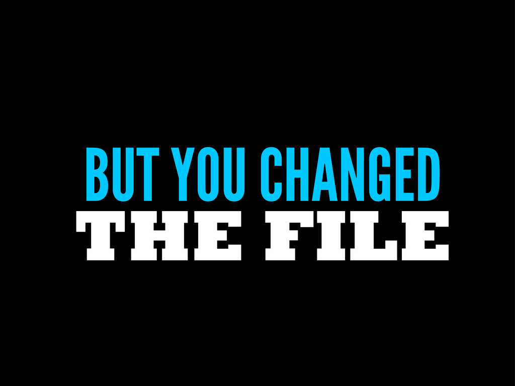 BUT YOU CHANGED THE FILE