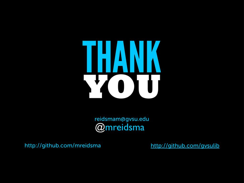 THANK YOU reidsmam@gvsu.edu @mreidsma http://gi...